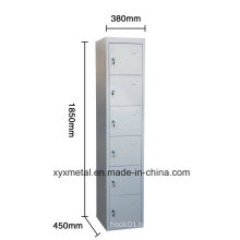 Plastic and Metal Handle Wardrobe 6 Doors Locker Made in China