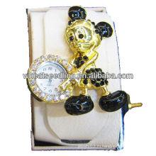 Симпатичные животные дизайн преувеличенные Rhinestone подлинной кожи цифровой браслет часы для сувенирной WW58