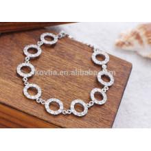 Moda simples design pulseira de prata esterlina 925 com corrente de anéis