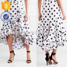 Nova Moda Assimétrica Babados Bolinhas De Algodão Midi Saia DEM / DOM Fabricação Atacado Moda Feminina Vestuário (TA5168S)