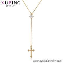 44078 en gros de bijoux de mode 18k plaqué or lady diamant collier croix design collier pendentif