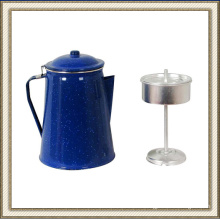 Blue Enamel Coffee Pot, Enamel Tea Pot, Enamel Kettle with Percolator