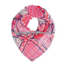 2013 Fashion Printed 100% Polyester Voile square scarf for ladies