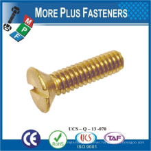Made in Taiwan Machine Screw Metric DIN 963 ISO 2009 Slotted Flat Head Countersunk Brass and Stainless Steel