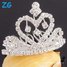 Vente en gros strass cheveux peigne coeur mariage tiara peigne clips pour filles