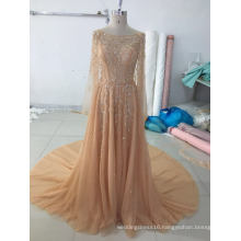 Gold Beading Long Sleeve Evening Party Dress