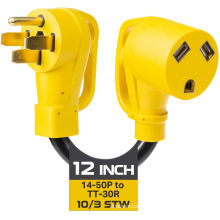 50 Amp to 30 Amp RV Electrical Adapter Power Cord, 12 Inch - 10/3 STW 14-50P Male Plug to TT-30R Female Receptacle, Yellow