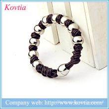 316L pulseira de aço inoxidável frisado bracelete magnético pulseira pulseira de couro moda