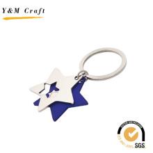 Zwei-Sterne-Form Metall-Schlüsselanhänger