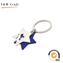 Two Star Shape Metal Keyring