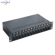 14 slots dual power supply media converter rack