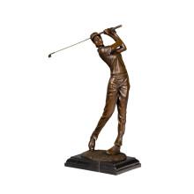 Спортивный Латунь Статуя Гольфист Женский Декор Бронзовая Скульптура Т-790 (С)