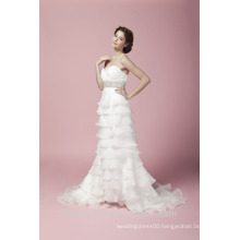 Sheath Sweetheart Neck Ruffle With Beaded Sash Strapless Wedding Dress AS27902