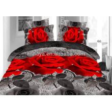 100% полиэстер Microfiber Домашнее использование Rose Pattern Утешитель Постельное белье Set