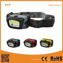 T11 Emergencia exterior portátil Camping COB LED 3xaaa faro de gran alcance