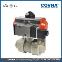 Válvula de bola de plástico neumática de aire / Válvula de bola neumática de PVC con conexión de unión doble