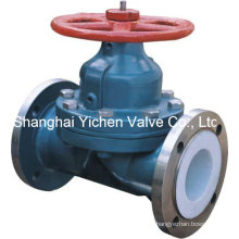 Teflon Lined Weir Type Diaphragm Valve
