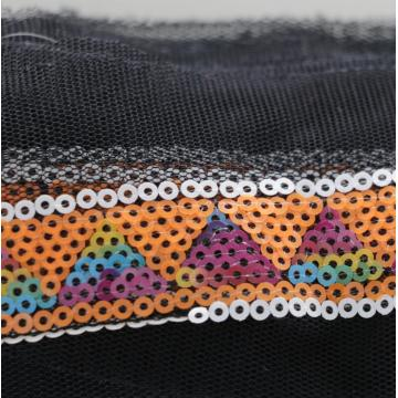 hot sale triangle wave pattern colorful ethnic sequin lace trim for clothes
