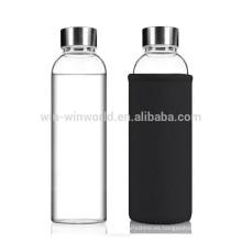 Regalo de promoción reutilizable del producto caliente Botella de agua chispeante de cristal portátil grande
