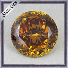 Buena pulido forma redonda Shinning Golden CZ gemas