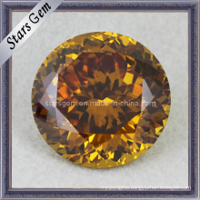 Good Polished Round Shape Shinning Golden CZ Gems