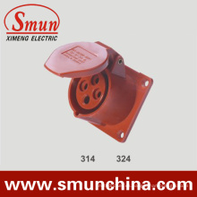 16A 32A Panel Socket 380V 4pin Red Europe Tipo para Industrial IP44