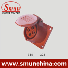 16A 32A Panel Socket 380V 4pin Red Europe Type for Industrial IP44