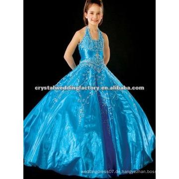 Bestes verkaufendes wulstiges blaues halter gesticktes Ballkleid backless Festzugblumenmädchenkleider CWFaf4202