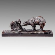 Tier Statue Doppelbären Bronze Skulptur, Milo Tpal-173 (B)