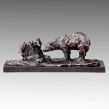 Estatua animal doble escultura de bronce de los osos, Milo Tpal-173 (B)