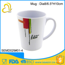wholesale new products cutom print melamine white color mug