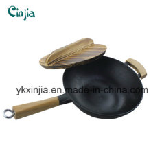 No Fumes Wok Whole Wood Handle Wok Cast Iron Cookware