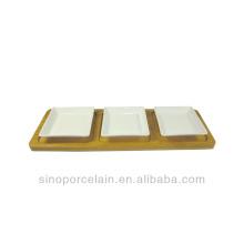 Restaurante Cerámica Aperitivo Servir Set con platos cuadrados y base de bambú para BS140122A