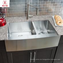 Acero inoxidable 33 pulgadas EE. UU. Venta caliente hecho a mano 60/40 cuenco doble casa de campo frente fregadero de cocina con rejilla opcional