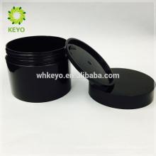 100g 150g 200g vente chaude pot cosmétique noir vide maquillage crème pot deux couches en plastique en plastique conteneurs