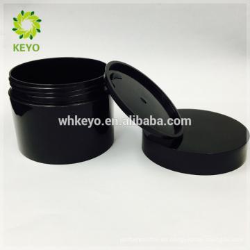 100g 150g 200g tarro cosmético venta caliente negro tarro de crema de maquillaje vacío dos capas de plástico envases de plástico