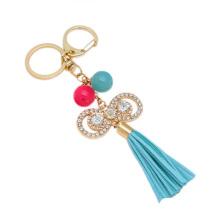 Rhinestone Tassel Keychain Bowknot Metal Keychain Custom