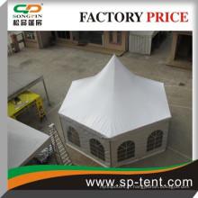 Prix d'usine Tente hexagonale de style pagode 6x12m avec fenêtre pvc transparente pour fête de chapiteau