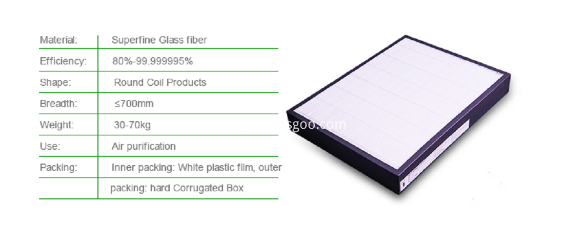 HEPA Fiberglass Plated Filter Media