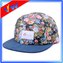 Floral Panels Suede Brim 5 Panel Hat
