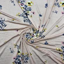 Pink Base Floral Print Viscose Single Jersey Fabric