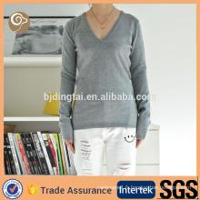 V cou à tricoter Chine gros pull en cachemire gris