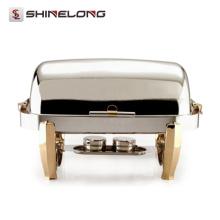C082 Rectangular plateado chapado en titanio Revestimiento superior de oro Indian Chafing Dish Fuel