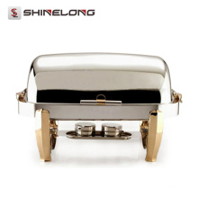 C082 Titanium Plated Rectangular Roll Top ouro Indiana Chafing Dish Fuel