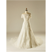 off The Shoulder Lace Beading Crystal Sequin A Line Bridal Wedding Gown