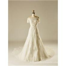 O Ombro Lace Beading Cristal De Lantejoulas Uma Linha De Vestido De Noiva De Noiva
