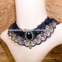 2013 collier de costume de mariée collier en dentelle noire avec grosse pierre LS43