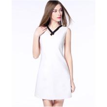 Großhandel weiße Farbe Sommer Damen V-Ausschnitt Chiffon langes Kleid
