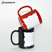 Sunmeta ceramic blank sublimation mug with white patch for custom logo/photo