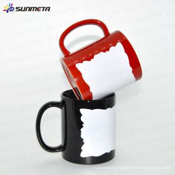 Sunmeta ceramic blank sublimation mug with white patch for custom logo/photo